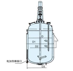 搪玻璃电加热反应釜结构图
