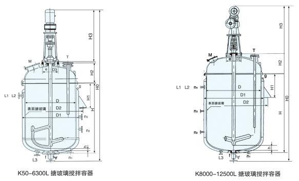 搪玻璃反应釜结构图