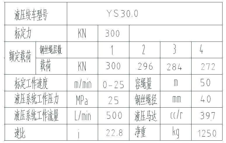液压绞车技术参数表