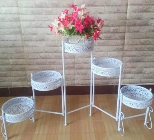 白色多盆花架