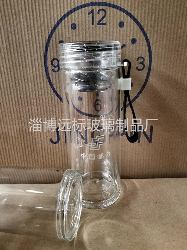 白底布纹盖水晶双层玻璃杯