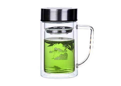 无尾透明双层玻璃杯