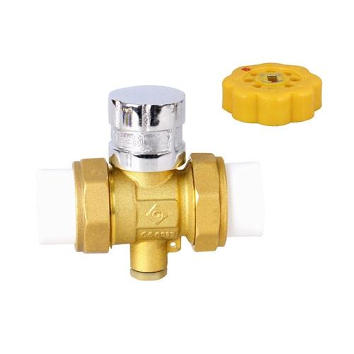 黄铜PP-R磁性锁闭测温球阀