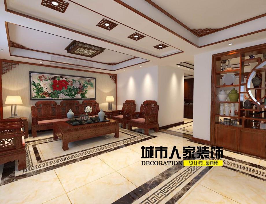 家金海岸200平米新中式风格装修案例客厅设计师梁润修1