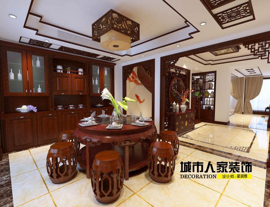 金海岸200平米新中式风格装修案例餐厅设计师梁润修1