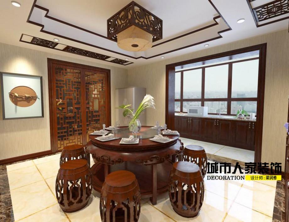 金海岸200平米新中式风格装修案例餐厅设计师梁润修3
