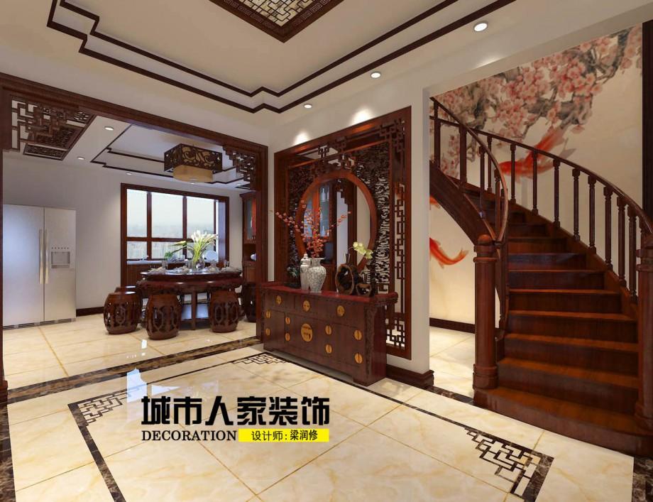 金海岸200平米新中式风格装修案例客厅设计师梁润修
