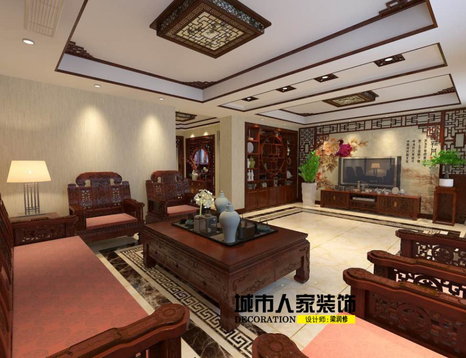 金海岸200平米新中式风格装修案例客厅设计师梁润修2