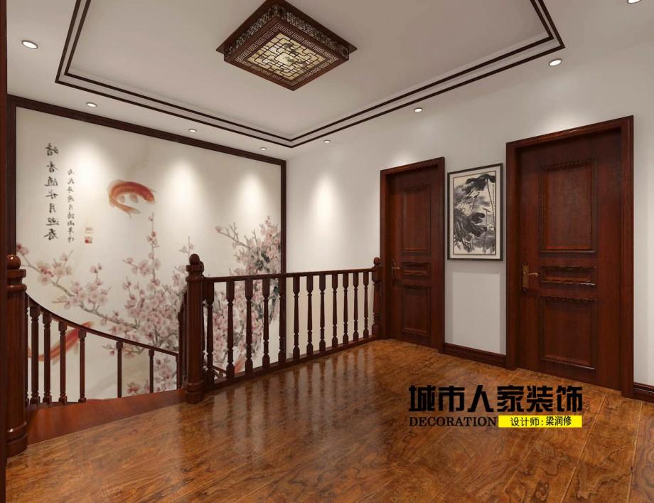金海岸200平米新中式风格装修案例楼梯设计师梁润修