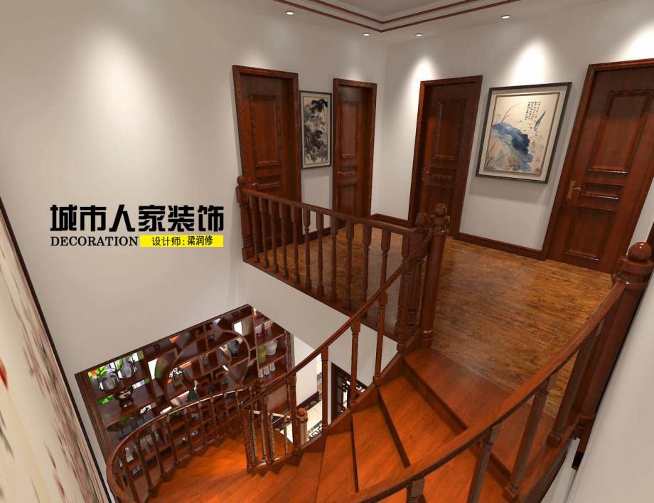 金海岸200平米新中式风格装修案例走廊设计师梁润修