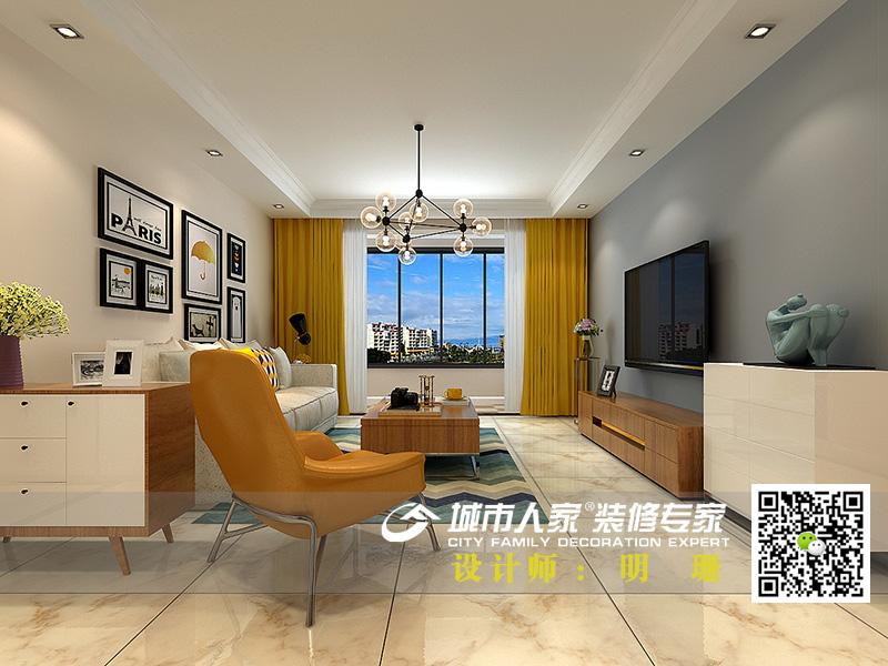 中海国际社区135平米简约风格-明珊客厅3