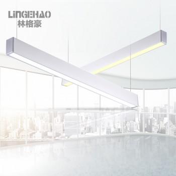 林格豪创意仿实木纹办公室led简约现代工程长条方形吸顶线吊灯
