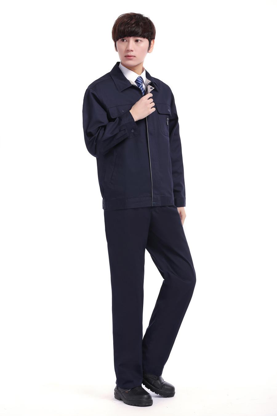 深蓝色春装工作服