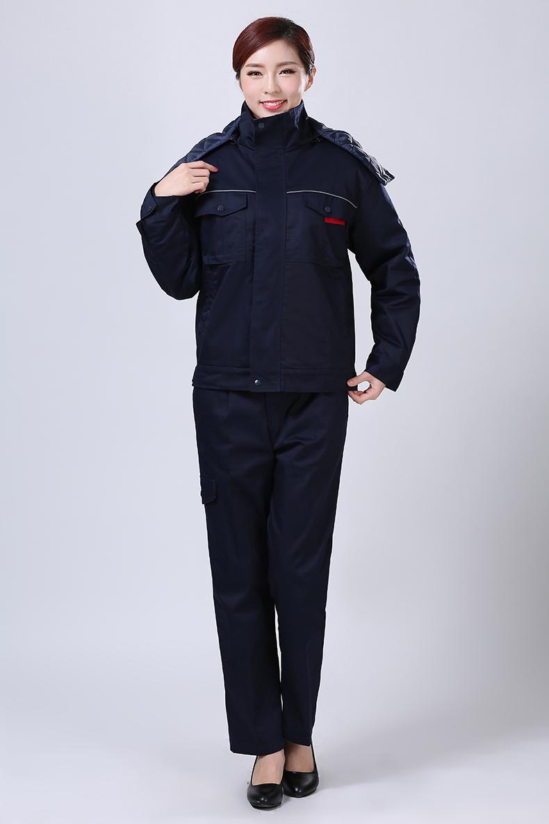 蓝黑冬装工作服