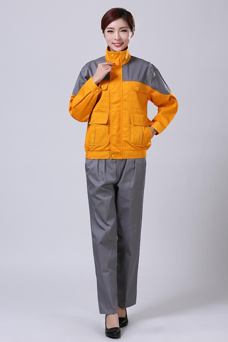 黄色秋装工作服