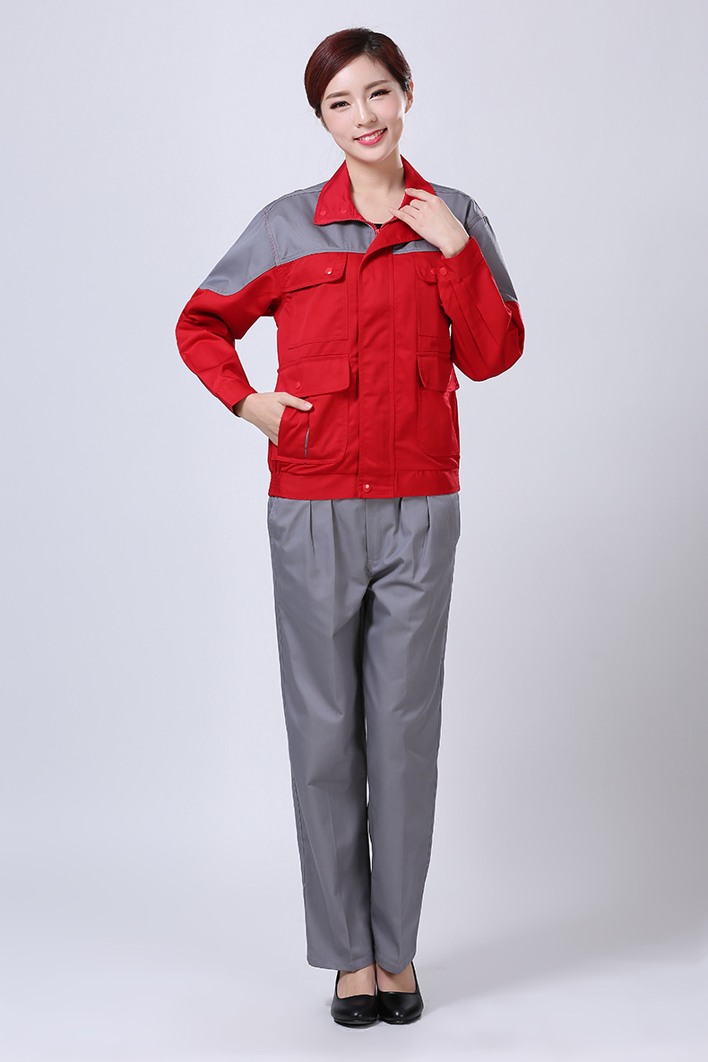 灰红色秋装工作服