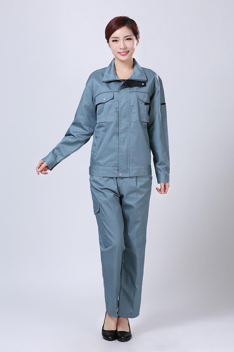 蓝青色秋装工作服