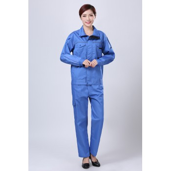 蓝色秋装工作服