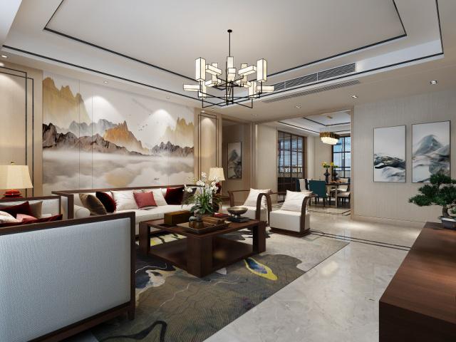 明珠山庄现代装修烟台城市人家装饰客厅1