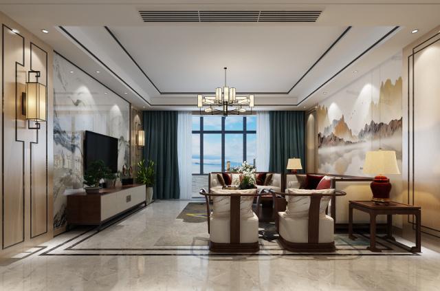 明珠山庄现代装修烟台城市人家装饰客厅2