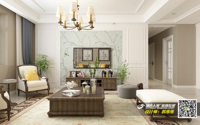 中海铂悦府140平简美风格装修效果图1电视背景墙