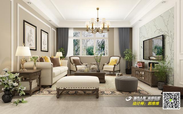 中海铂悦府140平简美风格装修效果图3客厅布局图